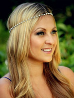 Wholesale 2015 New Lowest Price Fashion Women Bohemian Bridal Tiaras Metal Pearl Hair Band Hair Accessories Forehead Headband Head Chain Hot Selling