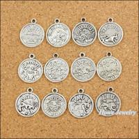 achat en gros de zodiaque bijoux en argent-Charms 96 pcs Vintage Zodiac Pendentif Antique argent Fit Bracelets Collier bricolage métal de fabrication de bijoux