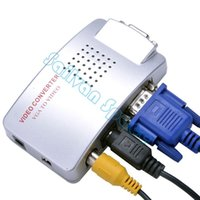 Wholesale Good Product VGA to AV Composite Converter RCA S video Signal Adapter Switch Box PC to TV Converter Adapter B16 SV007389