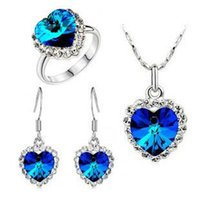 Wholesale 2015 Fashion Austrian Crystal Heart of Ocean necklace earrings and Ring Woman Jewelry Set z105 z105