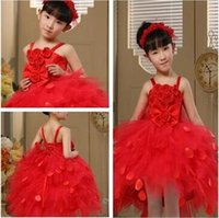 cupcake pageant dresses girls - Red flower girl dresses wedding gowns new condole stereo flower petal dress by hand cupcake pageant dresses girls dresses