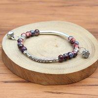 ceramic flowers - Pretty Exquisite Charm Bracelets Ceramic Beads Silver Copper Pipe Elastic Rope Trendy Jewelry Fashion Women Bracelets