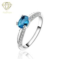 aquamarine silver jewellery - Aquamarine Engagement Rings High Quality Silver Plated with Blue Stones Rings Trendy Jewellery for Women Wedding Party