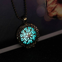 Wholesale Steampunk Antique Bronze Magic Round Locket Glow In The Dark Pendant Necklace Glowing Luminous Vintage Hollow Necklace N282