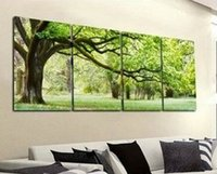 Cheap 4 piece abstract canvas art tree canvas wall picture decoration home modern canvas oil art Prints painting large living room