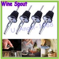 Wholesale 10pcs Stainless Steel Liquor Spirit Pourer Wine Spout with Rubber Stopper Wine Pourer