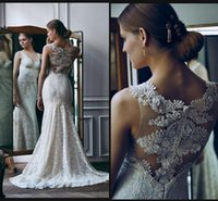 amazing marriage - Amazing Mermaid Full lace Wedding Dresses Covered Button Shinning Bridal Gowns V necl Train Sweep Vestidos Noiva Robe De Marriage WWL