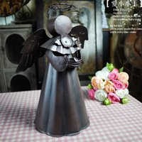iron candlestick - Vintage Angel Candlestick Candle Holders Home Decor Candlestick Iron Lantern Long Candlestick Wedding Gift Fashion Ornaments Home Accessorie