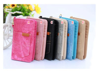 apple jeans - Multifunction Jeans Wallet Leather Case Card Photo Pouch Strip Zipper COINS Handbag Universal For IPhone S Plus S S Skin