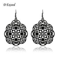 big earrings - Black Carve Flower Earring for Women Drop Earrings Hollow Out Chandelier Gun Black Plated Long Big Size Earrings