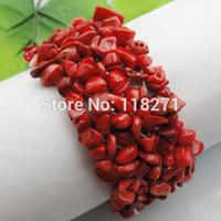 Precio de Chip stone bracelet-El coral rojo rojo del envío al por mayor-Libre pega la pulsera de piedra 7 del estiramiento de los granos