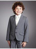 Wholesale Custom Gray Two Buttons Boy Suits Boys Tuxedo Notch Lapel Formal Wedding Dress