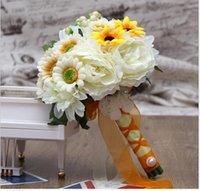 artifical garland - Sunflowers Multi Bridal Bouquets Wedding Accessories petails Garlands Artifical Flower Bridesmaids Bouquet hand Tied Flower WW