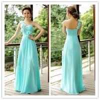 Cheap 2015 Beautiful A Line One Shoulder Flower Floor Length Bridesmaid Dress Zipper Sleeveless Applique Chiffon Bridesmaid Dresses A2