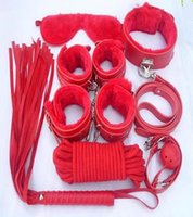 Wholesale Bondage set for foreplay sex gamesfur handcuffs blindfold handcuffs ankle cuff blindfold collar leather whip ball gag rope BDSM