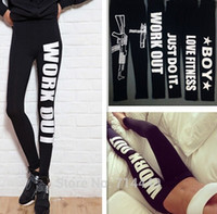 Wholesale Workout Letter Leggings Women s Pencil Letter Print Pants Sports Gothic Leggings Sexy Harajuku fitness leggings
