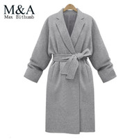 Cheap Grey Belted Wool Coat | Free Shipping Grey Belted Wool Coat