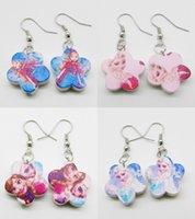 Wholesale 12pairs new frozen queen princess anna elsa Flower wood wooden mix drop earring earrings girls jewelry gift