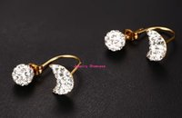 Wholesale Dainty Sparkly Shamballa Ball and Moon Shaped Beads Arch Hoop Earrings Womens Stainless Steel Studs Pair