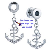 Other anchor screws - L Stainless Steel Screw Ear Gauge With Anchor Pendant Ear Plug Tunnel Body Piercing Jewelry