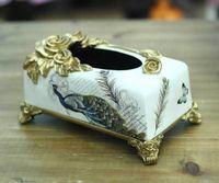 Wholesale Lang brand manufacturers home garden crafts European ceramic tissue box DV0252