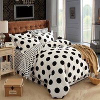 Cheap Fashion black white polka dot warm cotton bedding sets bedspreads on queen size bed with sheet duvet cover 4 5pc comforter set