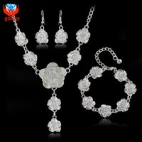 Wholesale 2015 Hot Sale Bridal Jewelry Sets Silver Plated Fashion Jewelry Flower Wedding Necklace Earrings Bracelet Set ZS134