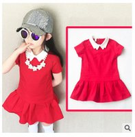 achat en gros de robe courte robe-2015 Summer Jumper Dress Baby Girls Garde-robe Little Red Frock White Doll Collar Robes manches courtes Temperament Red B0328