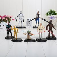 Wholesale 8pcs set Star Wars PVC Mini Action Figure Toys Dolls R2 Jedi Chewbacca Etc Clone Wars