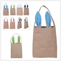 baskets and gifts - Popular Cute Easter Bunny Ears Basket Bag Cotton And Linen Easter Gift Packing Easter Handbag For Child Festival Gift Bag High quality DHL