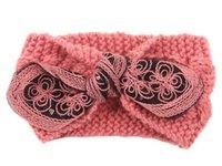 Wholesale Winter New fashion women Wool Knitted Headbands rabbit earsTurban Headband Crochet Elastic Hair Bands Ladies ear warmer D705J