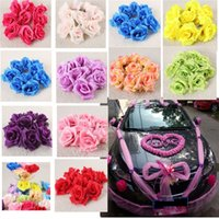 Cheap 50 100pcs Silk Roses Artificial Bridal Wedding Car Decor Church Flower Heads 9CM