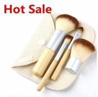 bamboo shade - 4Pcs Makeup Make up Bamboo Brushes Professional Cosmetic Brush Kit Thin Fiber Batt Sack Bag Package Eyeshadow Foundation Shade Tools