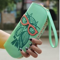 leather owl purse - New Fashion Cute Owl Glasses Hit Color Printing Korean Rounded Zipper Long Women Wallets Ladies Clutch Change Purse Card
