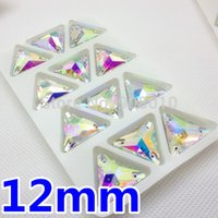 sewing box - 168pcs box mm Crystal Clear AB Color Triangle Glass Sew On Stone Flatback Holes Sewing Rhinestones Ifirstyle