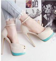 Women beige dress sandals - 2015 summer sandals sexy high heels sandals for women peep toe ankle strap beige blue party wedding shoes size to