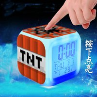 Wholesale Minecraft Alarm Clock frozen Alarm Clock LED Colors Change Digital Alarm Clock Night Colorful Changing Toys Designs by DHL