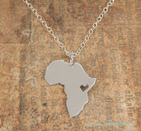 africa charm necklace - 30PCS N034 African Map Necklace Country of South Africa Map Necklace Adoption Necklace Ethiopia Ciondolo Africa Heart Necklaces
