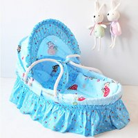 Wholesale Portable Sleeping Basket Newborn Baby Travel Carry Cot Cradles Cotton Travel Bed Baby Corn Bran Woven Bassinet Colors