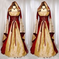 Wholesale Hofadel Renaissance Medieval Party Cosplay Costume Dress Gown Cape Hoodie size