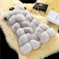 Wholesale Women Silver Fox Fur Vest gilet New Fur coat Women Slim Sleeve Full leather jacket Women Fox Fur Coat Fee shipping