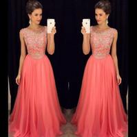 al por mayor vestidos de diamantes de imitación de la cremallera-Bling Prom Dresses 2017 lujoso coral dama de honor se viste una línea cucharada con rebordear y Rhinestones cremallera espalda vestidos largos vestido de noche