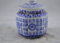 antique blue pottery - Jingdezhen Ceramic antique blue and white traditional pottery Jar Doo Choi Fook word antique porcelain tea caddy storage tank