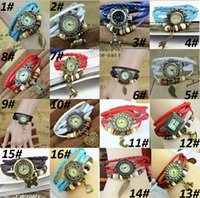 Dress belt buckle types - 20 types Vine color available pendant Quartz Bracelet Bangle Retro Lovely Womens Girl Weave Wrap Around Leather Watch Available Supply