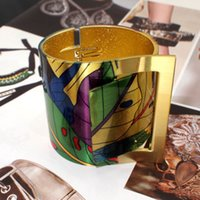 Cheap ashion Jewelry Bangles Fashion Country Style Painting Design Opened Bangle Cuff Bracelet For Women,High Quality Gold Plated Costume Jewel...