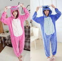 Wholesale Unisex Adult Pink Blue Stitch Pajamas Animal Onesie One Piece Pyjamas Cosplay Costume Sleepsuit Gift