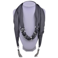 Wholesale New Alloy Pendant Scarf Charms Ring Jewelry Beads Soft Scarves Purple Cashmere Lady Pendant Scarves Tassel Decorative scarf SC150042