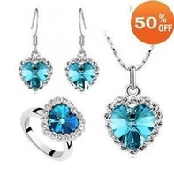 blue stainless steel earring - 2014 new fashion Latest design Accessories austria crystal necklace earrings ring jewelry sets