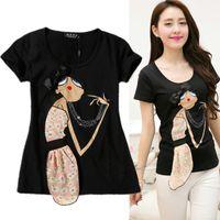 Cheap Wholesale-NEW 2015 summer t shirt women cotton short sleeve cute tops cartoon t-shirt tee 3D applique tshirt plus size XXL camisetas mujer