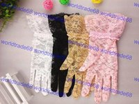 Cheap Women Wedding Bridal Lace Gloves Accessories Bride Tulle Flowers Hollow Short Ruffles Glove Car Drive Sun Protection Hand Wear